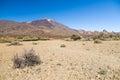 Arid and stony landscape of caldera with view on volcano Teide Royalty Free Stock Photo