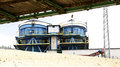 Arid storage silos in barcelona Stock Photos