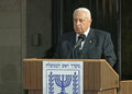 Ariel sharon speaks about the talks he is having with palestinian authority president mahmoud abbas in front of the prime Stock Photo