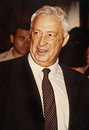 Ariel sharon then minister of trade and industry promotes his country s exports at the israel jewelry fair in jerusalem jan Stock Photography