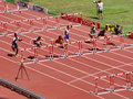 Aries merritt won the preliminary contest for the m hurdles in iaaf world athletics championship on aug in beijing Royalty Free Stock Image