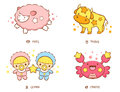 Aries and Taurus, Twins and Crab Mascot Royalty Free Stock Photography