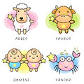 Aries and Taurus, Twins and Crab Mascot. Stock Photo
