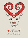 Aries vintage romantic horoscope sign valentine s day Royalty Free Stock Image
