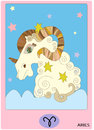Aries zodiac sign card collection Royalty Free Stock Image