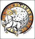 Aries and the zodiac sign horoscope circle illus one rides behind them are symbols of all signs on a white background graphic Royalty Free Stock Image