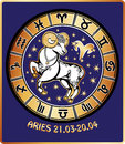 Aries zodiac sign horoscope circle retro illustrat one rides behind them are symbols of all signs golden and white figure on blue Stock Photos