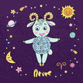 Aries zodiac sign on night sky background with stars