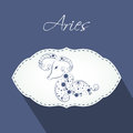Aries Zodiac sign sticker or label. Royalty Free Stock Photo