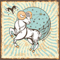Aries  zodiac sign.Vintage Horoscope card Royalty Free Stock Photo