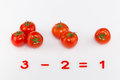 Arithmetic example of bright red tomatoes and prime numbers on a white background Royalty Free Stock Photo