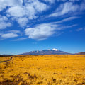 Arizona highway us with view of snow humphreys peak snowed mountains in near flagstaff Royalty Free Stock Photography