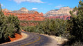 Arizona mountain scenery curving road trees Stock Photo