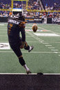 Arizona rattlers kicker garrett lindholm kicks off against the san jose sabercats on april in phoenix arizona usa the rattlers Royalty Free Stock Images