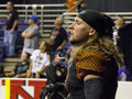 Arizona rattlers receiver tysson poots awaits play in a game versus the san jose sabercats on april in phoenix arizona usa the Royalty Free Stock Photography