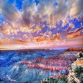 Arizona sunset grand canyon national park mother point us in usa Royalty Free Stock Photo