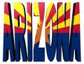 Arizona text with flag on white Stock Image