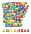 Arkansas - colorful low poly us state shape.