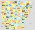 Arkansas county map with counties seats and neighboring states each and neighboring state is an individual object Royalty Free Stock Photo