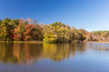 Arkansas fall landscape and lake in Petit Jean state park Royalty Free Stock Photo