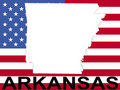 Arkansas with flag Stock Photos