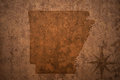 Arkansas state map on a old vintage paper background Royalty Free Stock Photo