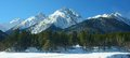 Arkhyz panorama this is sunny in caucasus mountains in winter Royalty Free Stock Photo