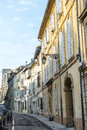Arles bouches du rhone provence alpes cote d azur france old street and the roman arena Stock Photo
