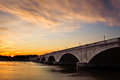 Arlington Memorial Bridge At Sunset Royalty Free Stock Photo