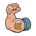 Arm flexed with beer tattoo Royalty Free Stock Photo