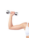 Arm of woman exercising with weight young closeup an a dumbbell isolated on white background Stock Images