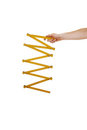 Arm with wood ruler. Royalty Free Stock Photo