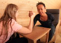 Arm wrestling - fighting girls