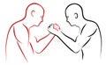 Arm wrestling illustration red and black
