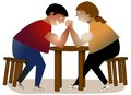 Arm wrestling men two struggling in an wrestle sitting at a table Royalty Free Stock Photography