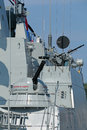 Armament on the deck of a modern warship nobody Royalty Free Stock Photos