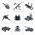 Armament icon set collection on a white background Royalty Free Stock Photos