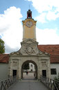 Armament museum gate in ingolstadt in germany august with tower and clock unidentified people visible Royalty Free Stock Photos