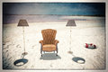 Armchair on the beach Royalty Free Stock Photos