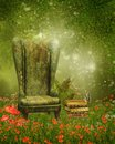 Armchair and books on a meadow old green with poppy flowers Stock Images