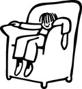 Armchair boy simple cute line drawing of a tired little slumped in an Stock Images