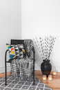 Armchair and decorations in the living room black lanterns Royalty Free Stock Images