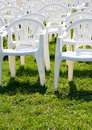 Armchair on green lawn Royalty Free Stock Photo