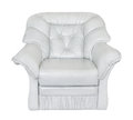 Armchair leather white on background Stock Image