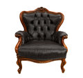 Armchair old styled black vintage isolated on white background Royalty Free Stock Images