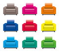 Armchair set colorful on white Stock Images