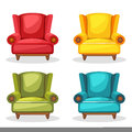 Armchair soft colorful homemade, set 2 Royalty Free Stock Photo