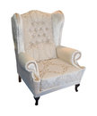 Armchair vintage beige isolated with clipping path Stock Images