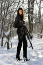 Armed beautiful young lady