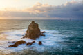 Armed knight land end the rock formation known as the off the coast of lands cornwall england uk europe Stock Photography